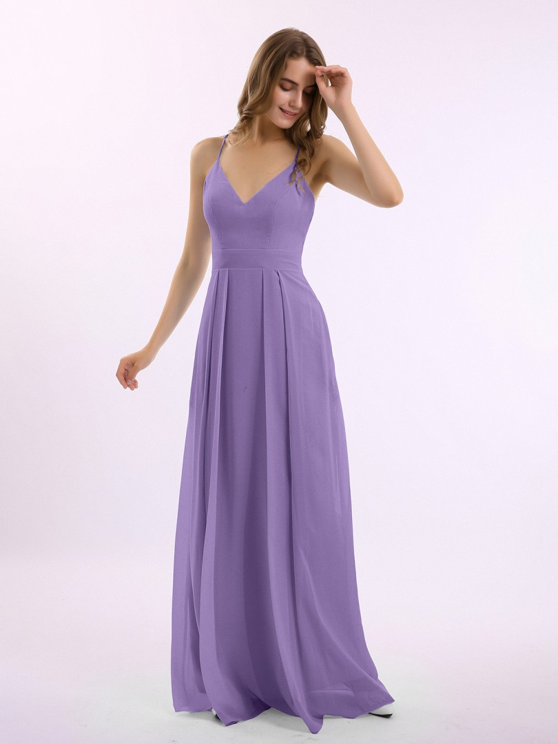 A-line Chiffon Tahiti Criss-Cross Straps Pleated Floor-length V-neck Spaghetti Straps Long Bridesmaid Dresses