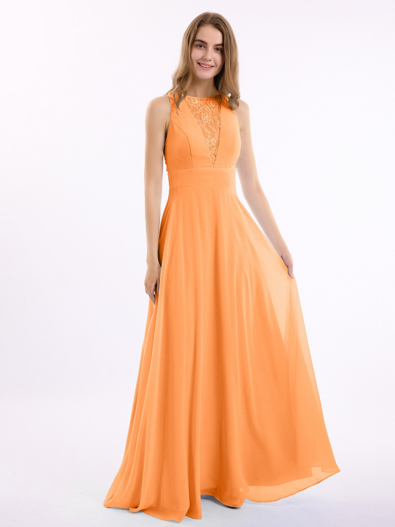 A-line Chiffon Wisteria Zipper Lace Floor-length Scoop Sleeveless New Arrivals