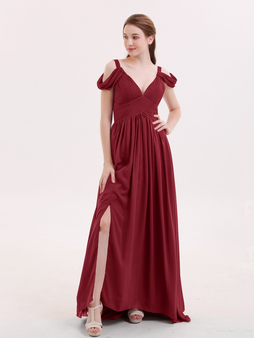A-line Chiffon Burgundy Zipper Pleated Floor-length V-neck Straps Sleeves Bridesmaid Dresses