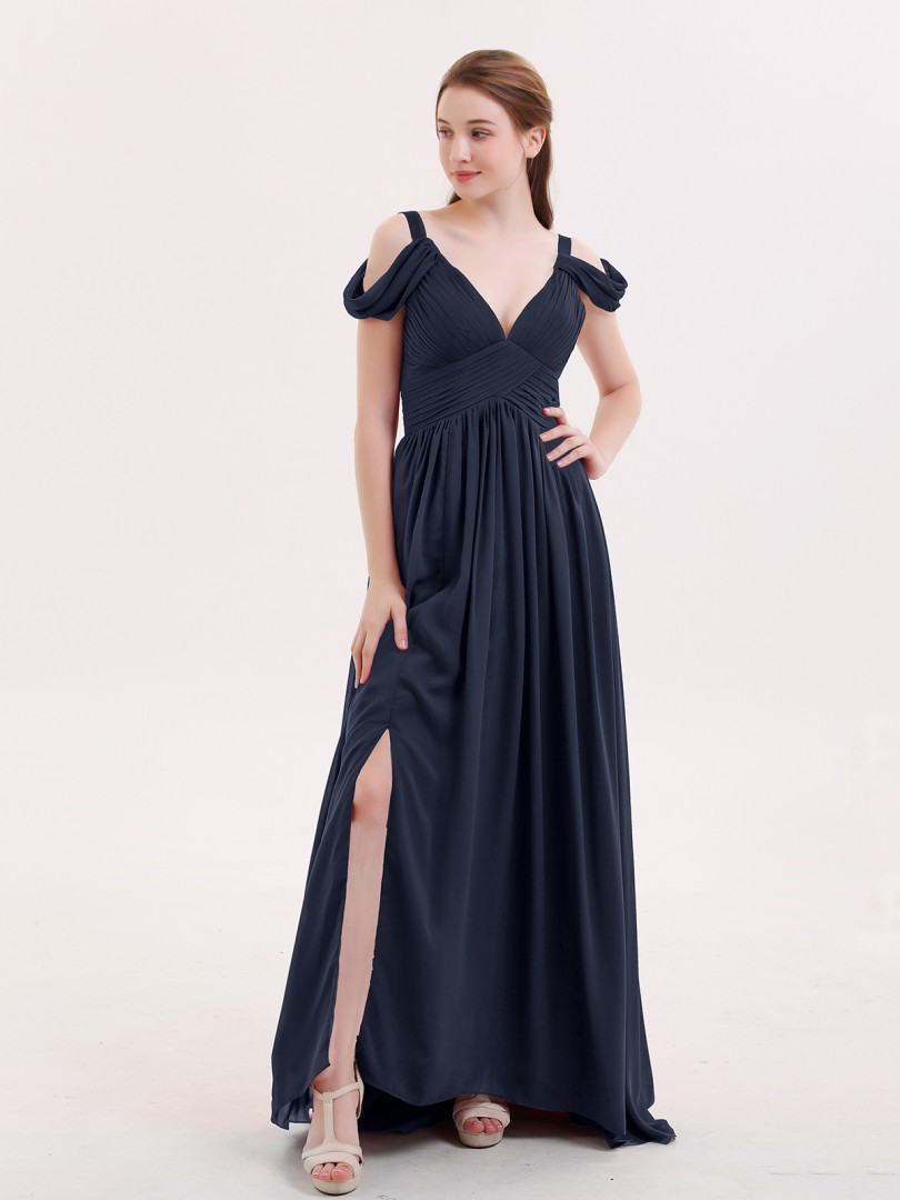 A-line Chiffon Burgundy Zipper Pleated Floor-length V-neck Straps Sexy Prom Dresses