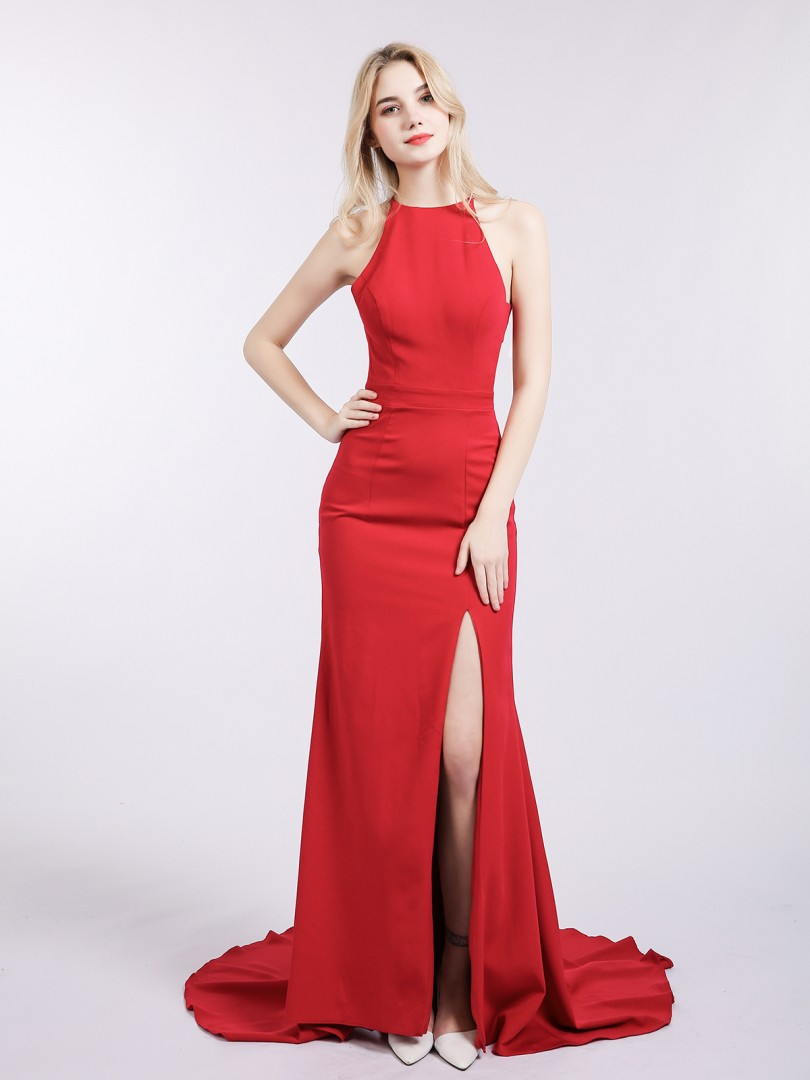 Sheath/Column Jersey Red Zipper Side  Sweep/Brush Train Halter Sleeveless Mermaid Prom Dresses