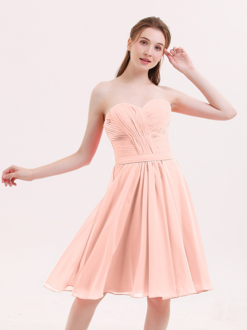 A-line Chiffon Coral Zipper Pleated Knee-length Sweetheart Sleeveless Chiffon Bridesmaid Dresses