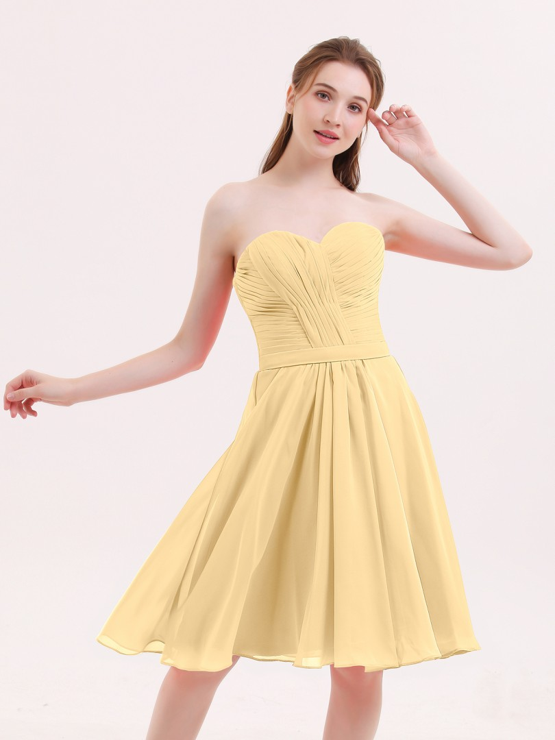 e1b24d7d7e9f A-line Chiffon Coral Zipper Pleated Knee-length Sweetheart Sleeveless Short  Bridesmaid Dresses