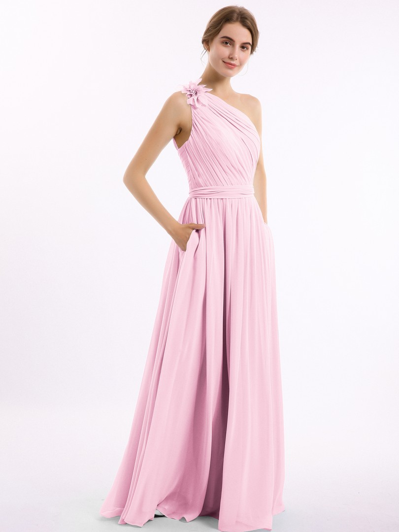 A-line Chiffon Wisteria Backless Pocket, Ruched, Flower Floor-length One Shoulder Sleeveless Long Bridesmaid Dresses