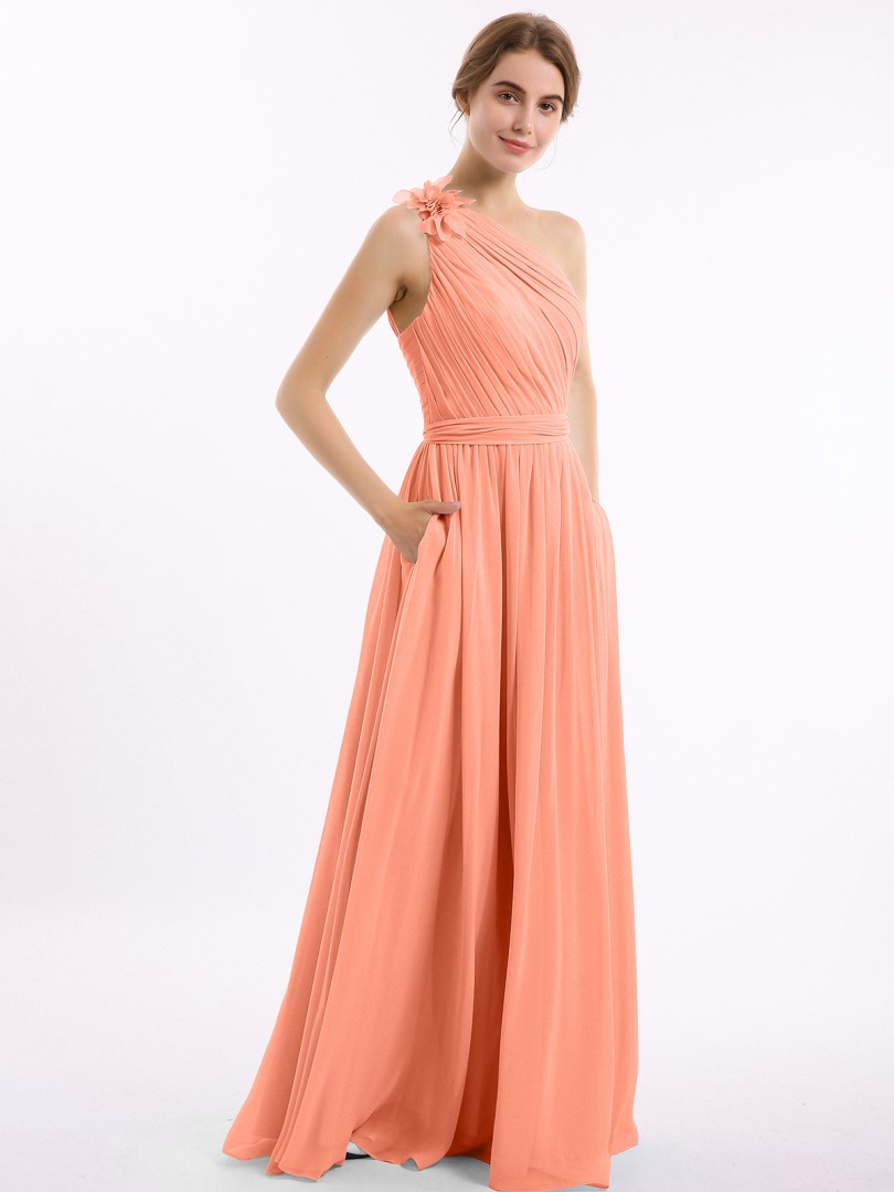 A-line Chiffon Wisteria Backless Pocket, Ruched, Flower Floor-length One Shoulder Sleeveless New Arrivals