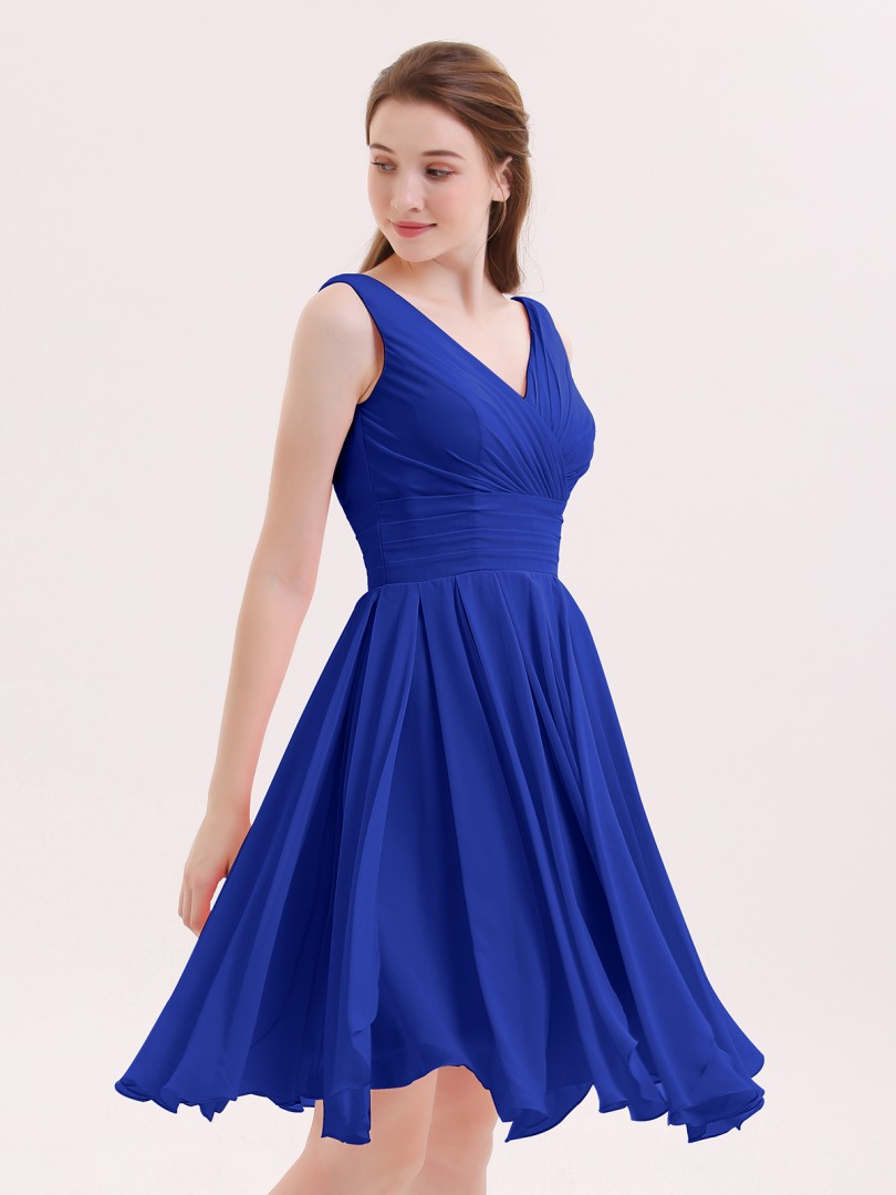 A-line Chiffon Royal Blue Zipper Ruffle, Pleated Knee-length V-neck Sleeveless Bridesmaid Dresses
