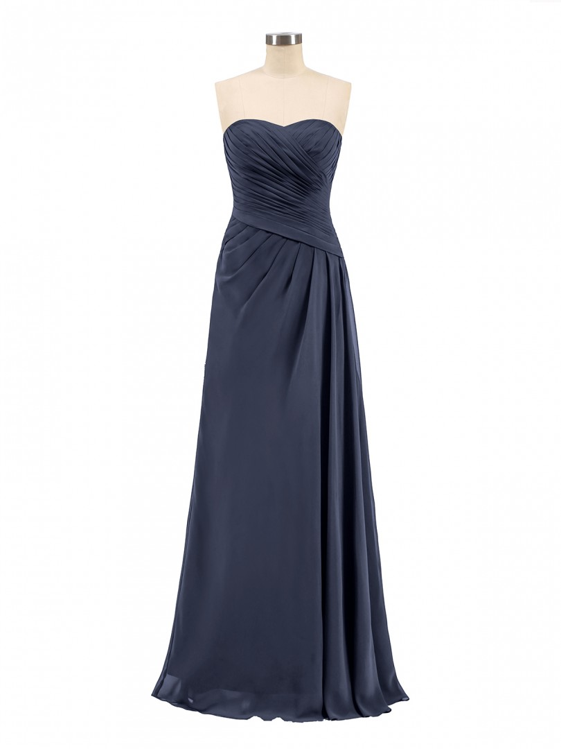 ebc2439fc6fe A-line Chiffon Dark Navy Zipper Ruched, Pleated Floor-length Sweetheart  Sleeveless Long