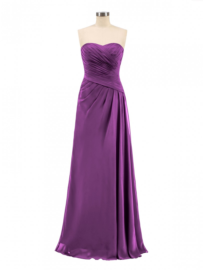 A-line Chiffon Dark Navy Zipper Ruched, Pleated Floor-length Sweetheart Sleeveless Long Bridesmaid Dresses