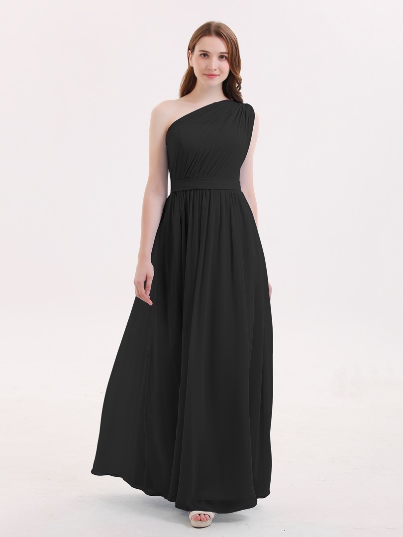 A-line Chiffon Dark Navy Zipper Side Ruffle, Pleated Floor-length One Shoulder Sleeveless Long Bridesmaid Dresses
