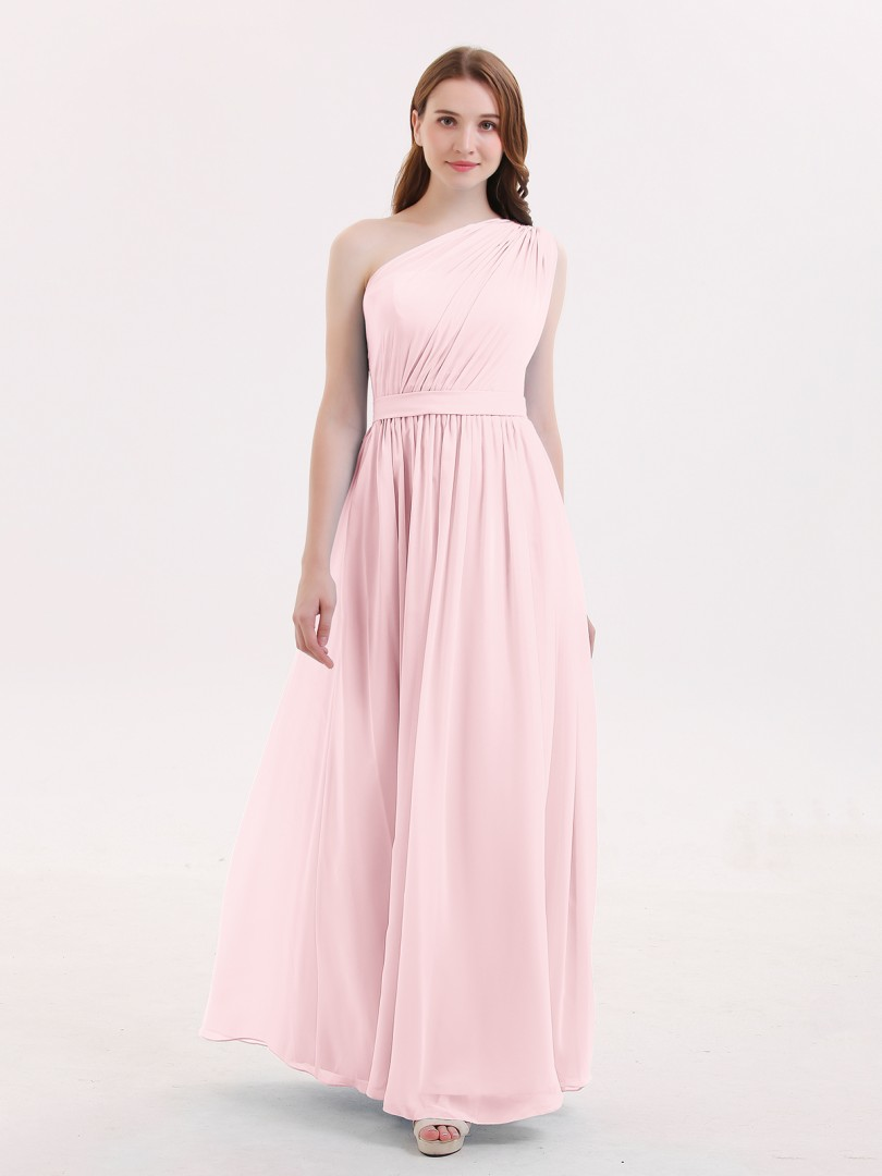 15896f113cdd5 ... Long Bridesmaid Dresses; Babaroni Maggie. A-line Chiffon Dark Navy  Zipper Side Ruffle, Pleated Floor-length One Shoulder