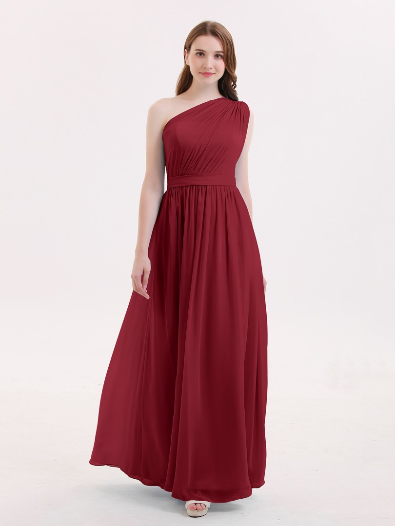 A-line Chiffon Dark Navy Zipper Side Ruffle, Pleated Floor-length One Shoulder Sleeveless Bridesmaid Dresses