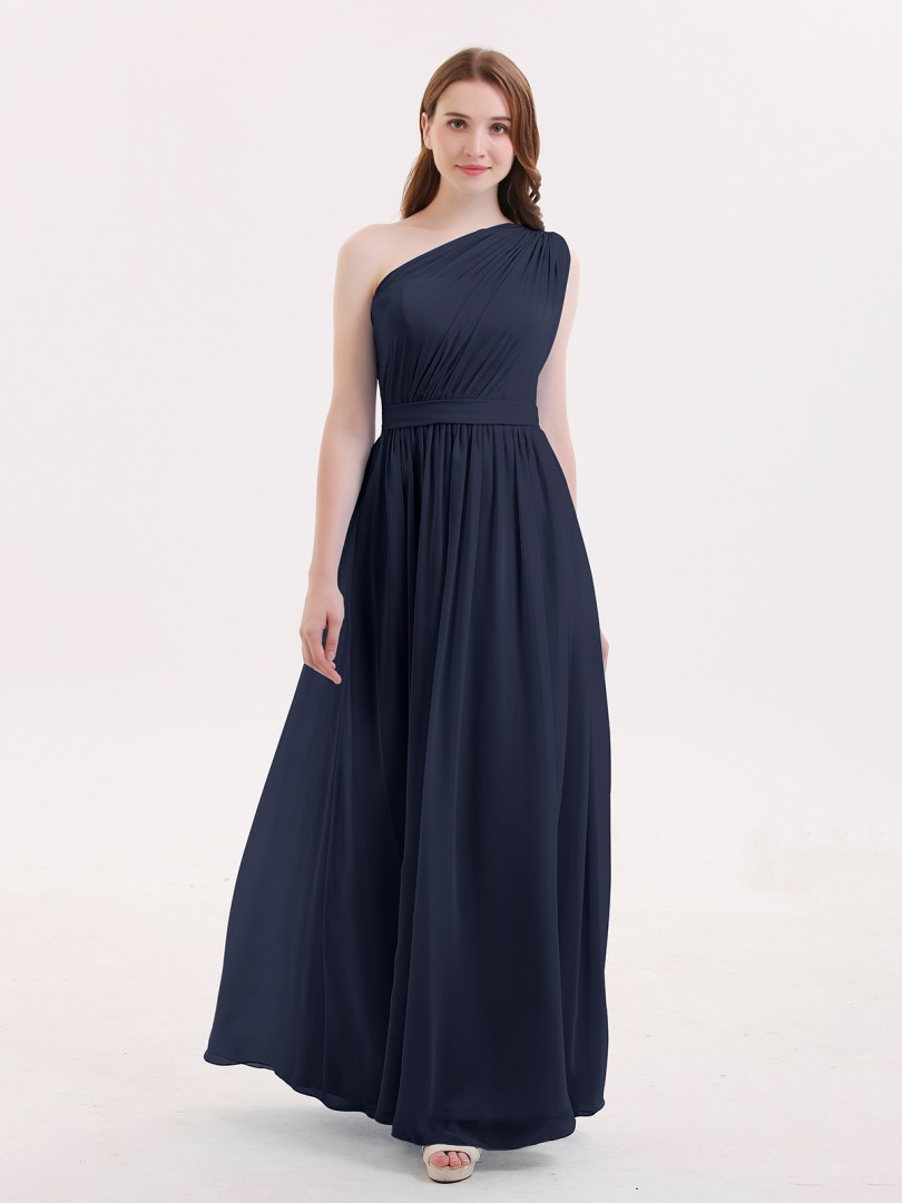 633d02e3c8eec A-line Chiffon Dark Navy Zipper Side Ruffle, Pleated Floor-length One  Shoulder
