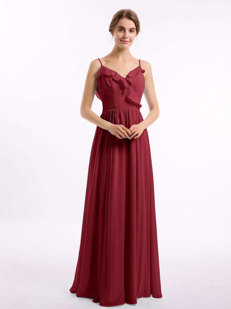 A-line Chiffon Burgundy Backless Belt, Ruched, Pleated Floor-length V-neck Spaghetti Straps New Arrivals