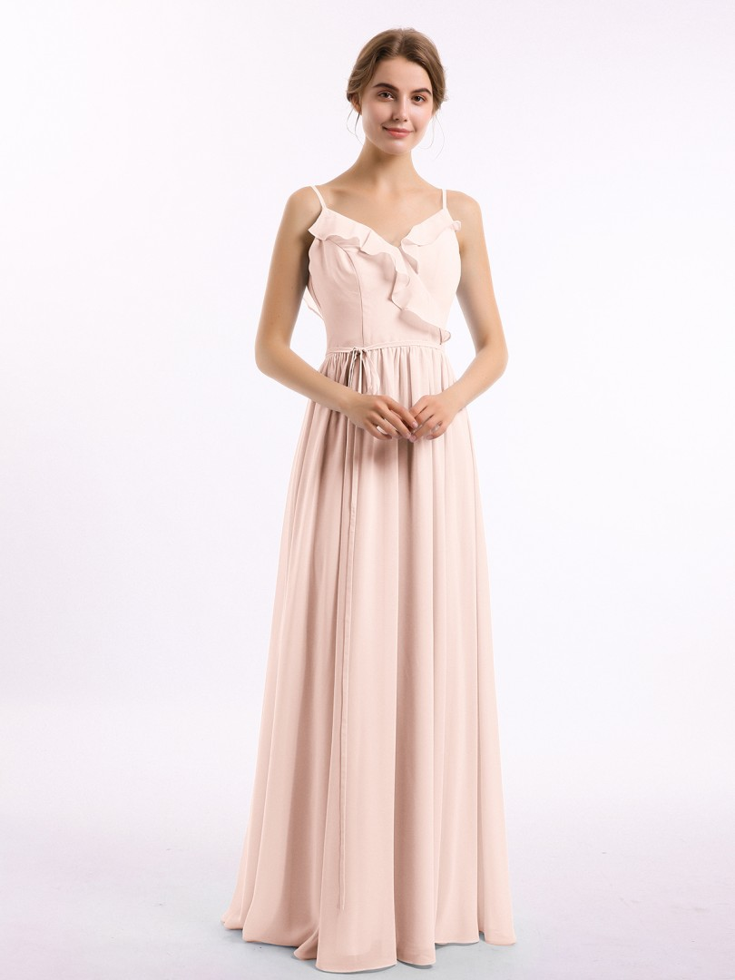 A-line Chiffon Burgundy Backless Belt, Ruched, Pleated Floor-length V-neck Spaghetti Straps Long Bridesmaid Dresses