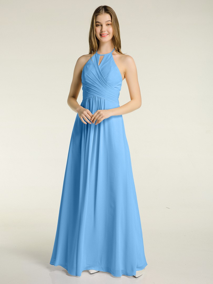 A-line Chiffon Sunset Zipper Bow, Ruched, Pleated Floor-length Halter Sleeveless New Arrivals
