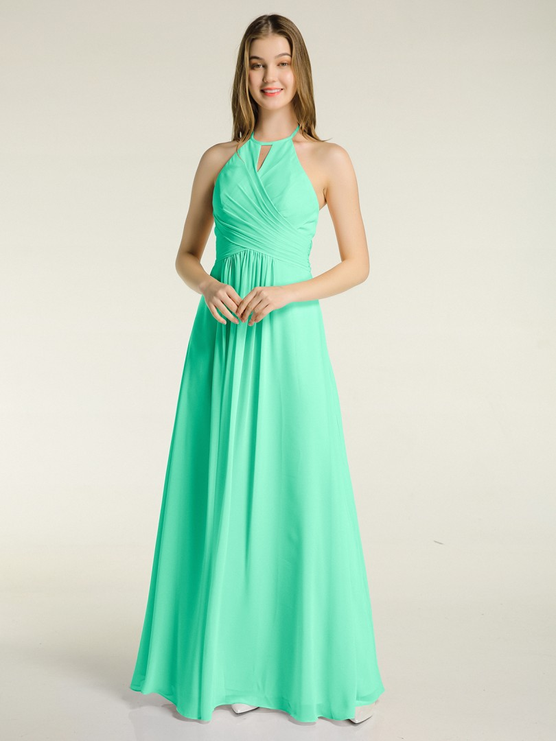 A-line Chiffon Sunset Zipper Bow, Ruched, Pleated Floor-length Halter Sleeveless Long Bridesmaid Dresses
