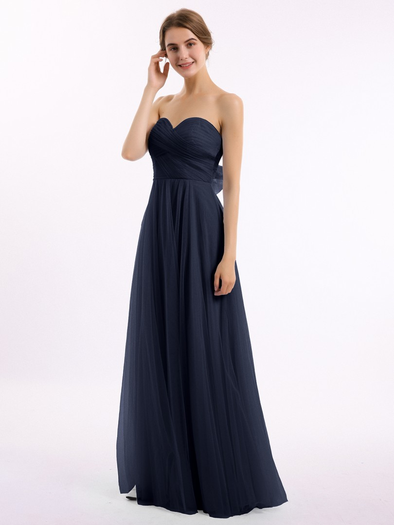 A-line Tulle Sky Blue Backless Bow, Ruched Floor-length Sweetheart Sleeveless Tulle Bridesmaid Dresses