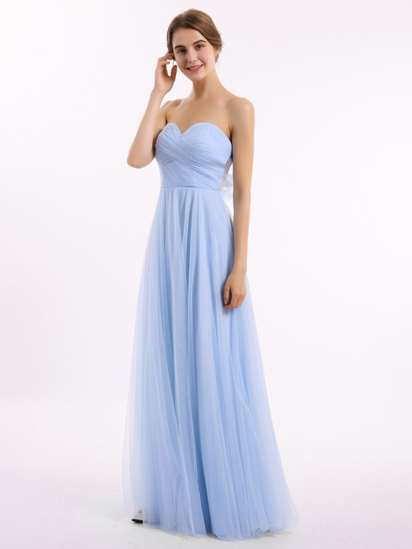 A-line Tulle Sky Blue Backless Bow, Ruched Floor-length Sweetheart Sleeveless New Arrivals