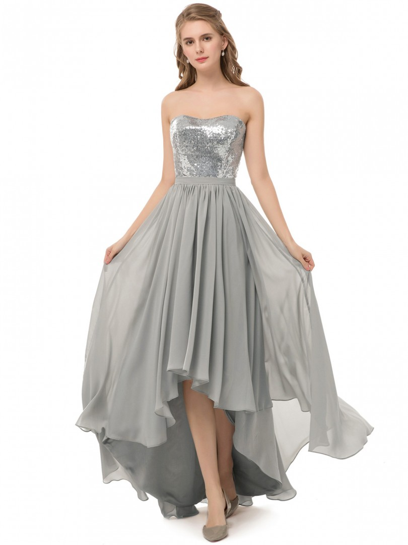 A-line Sequin Silver Zipper Ruched Asymmetrical Strapless Sleeveless Sexy Prom Dresses
