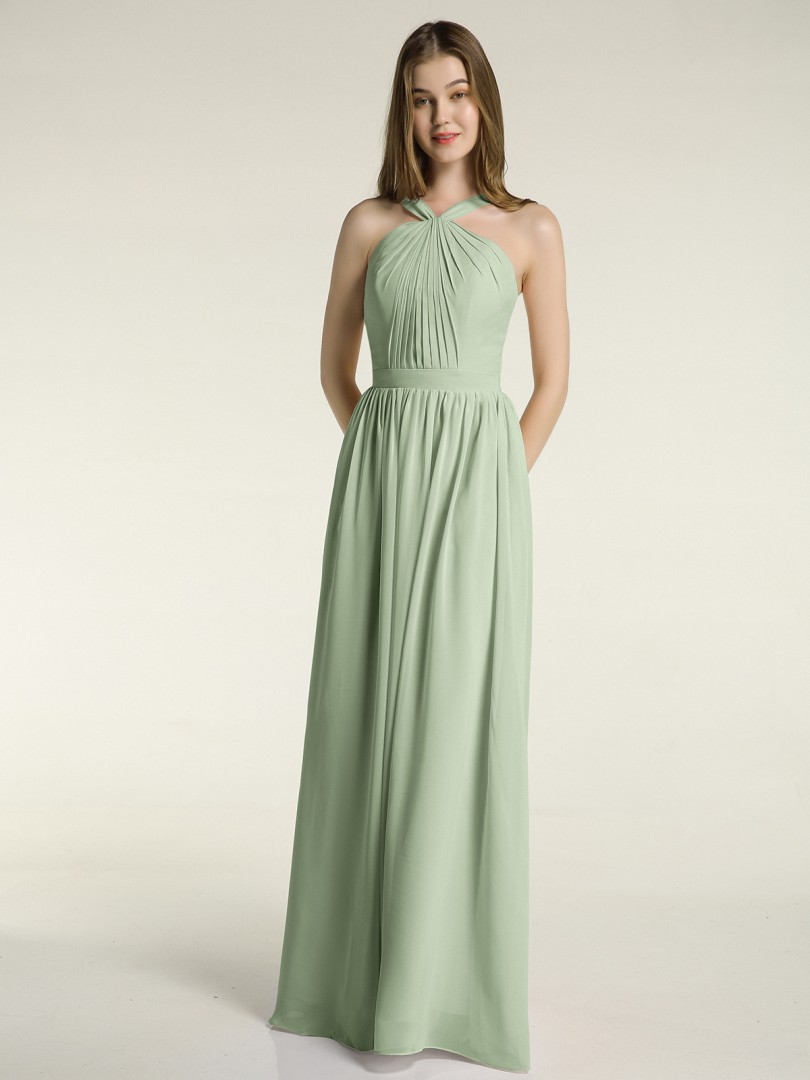 A-line Chiffon Dusty Sage Zipper Ruched, Pleated Floor-length Halter Sleeveless Bridesmaid Dresses