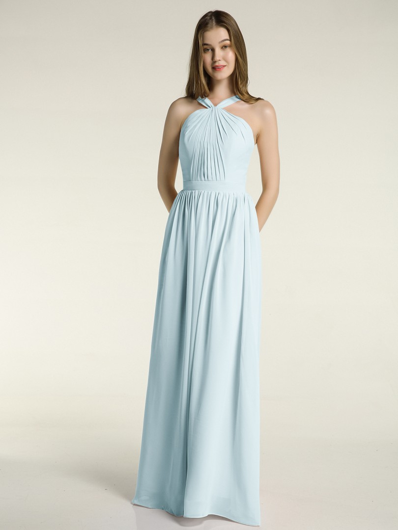 A-line Chiffon Dusty Sage Zipper Ruched, Pleated Floor-length Halter Sleeveless Long Bridesmaid Dresses