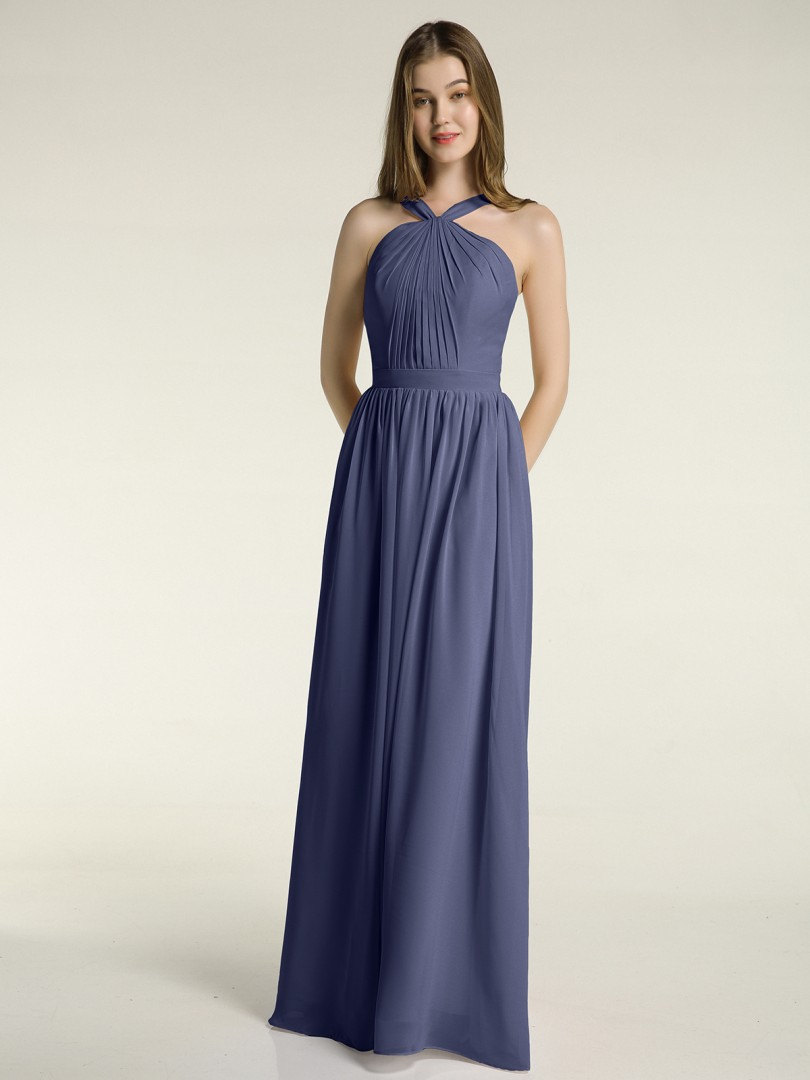 A-line Chiffon Dusty Sage Zipper Ruched, Pleated Floor-length Halter Sleeveless New Arrivals