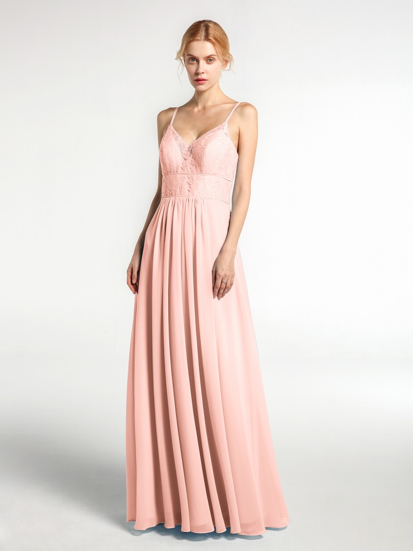 A-line Chiffon Coral Zipper Lace, Ruched Floor-length V-neck Spaghetti Straps Bridesmaid Dresses