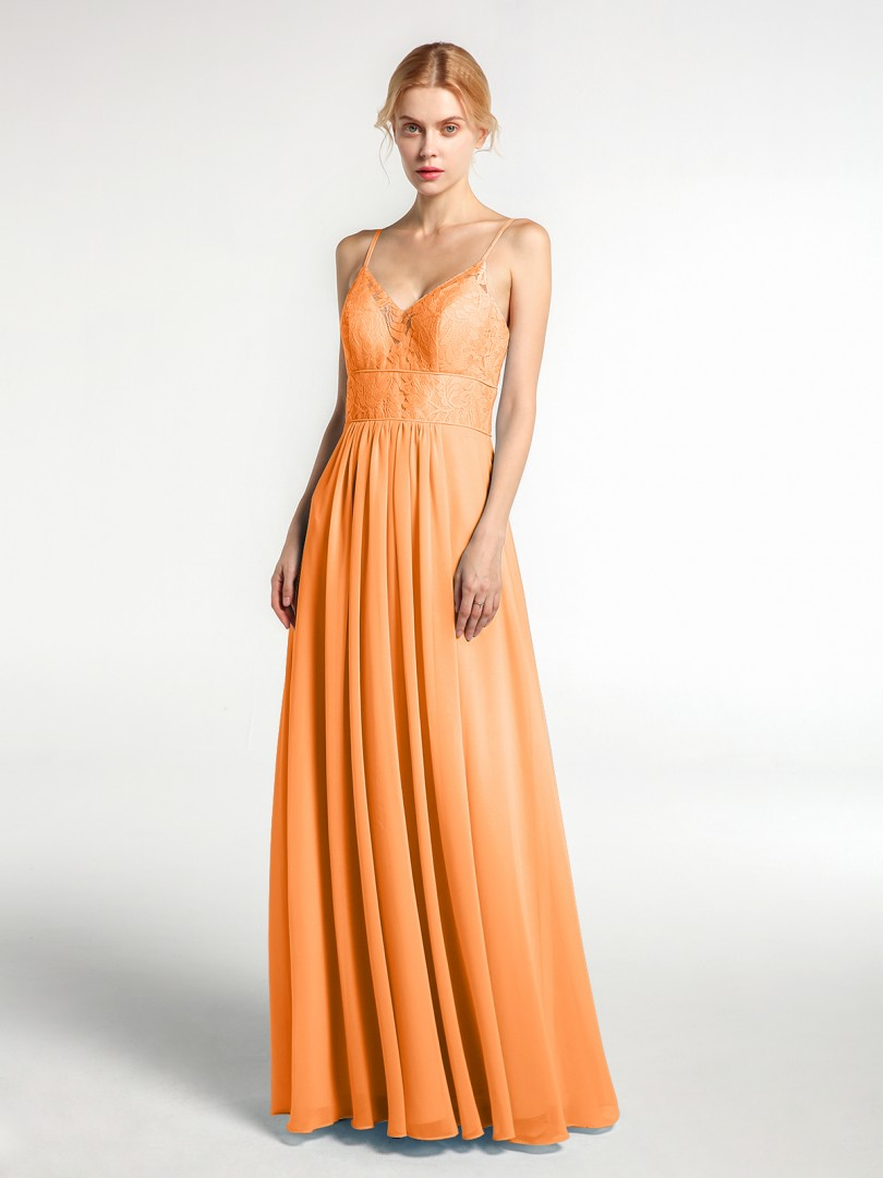 A-line Chiffon Coral Zipper Lace, Ruched Floor-length V-neck Spaghetti Straps New Arrivals