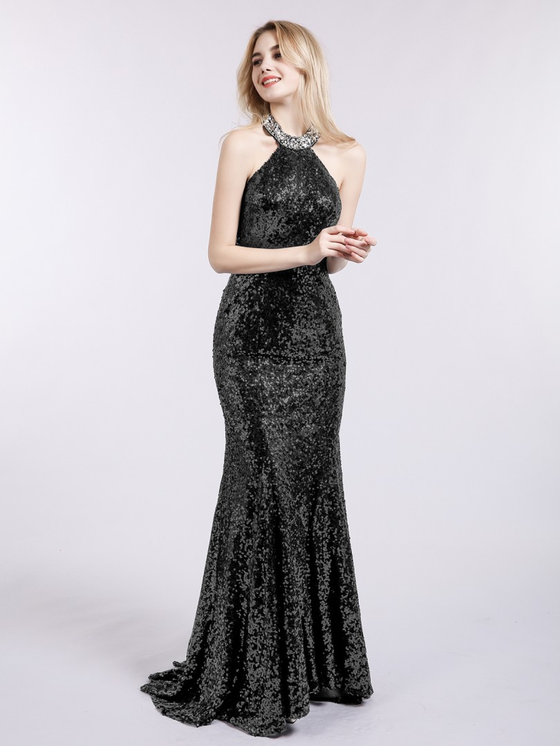 Trumpet/Mermaid Sequin Black Backless Beaded Sweep/Brush Train Halter Sleeveless Prom Dresses