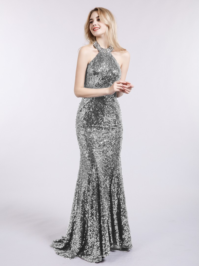 c5b2b1747a69 Silver Marina Halter Lower Back Sequins Memaid Gown