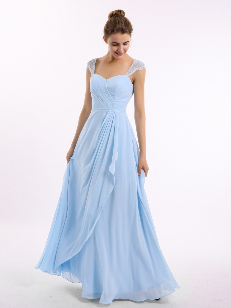 A-line Chiffon Sky Blue Zipper Ruffle, Ruched Floor-length Sweetheart Cap Sleeve Bridesmaid Dresses