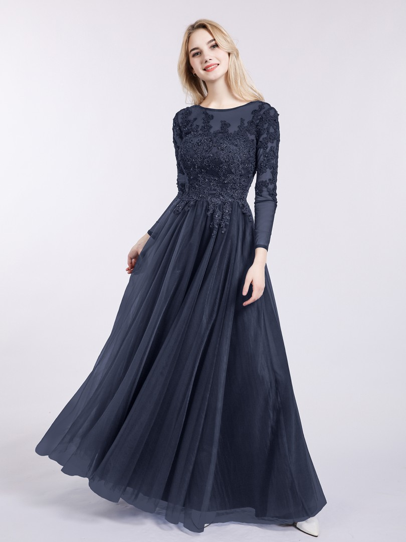 A-line Tulle Dark Navy Zipper Appliqued, Beaded Floor-length Bateau Long Sleeve Prom Dresses