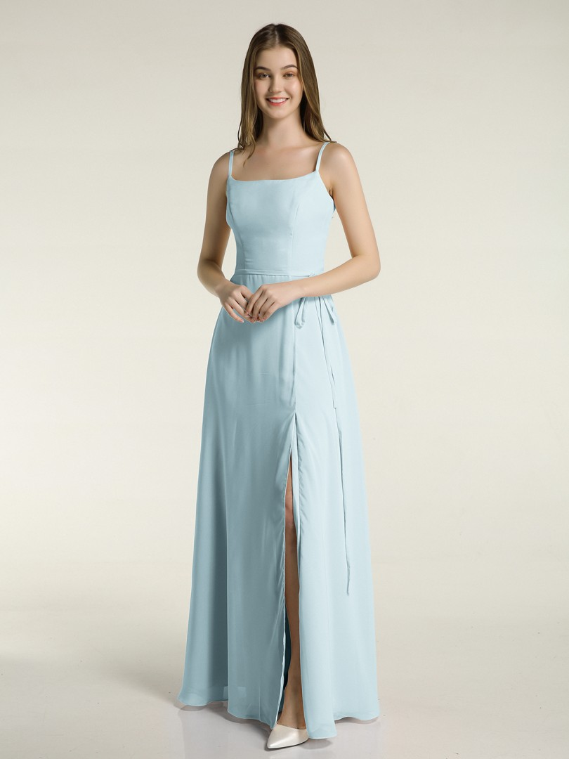 A-line Chiffon Grape Zipper Bow Floor-length Square Spaghetti Straps Long Bridesmaid Dresses