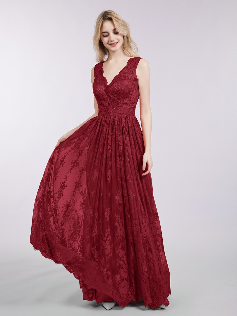 A-line Lace Red Backless  Floor-length V-neck Sleeveless New Arrivals