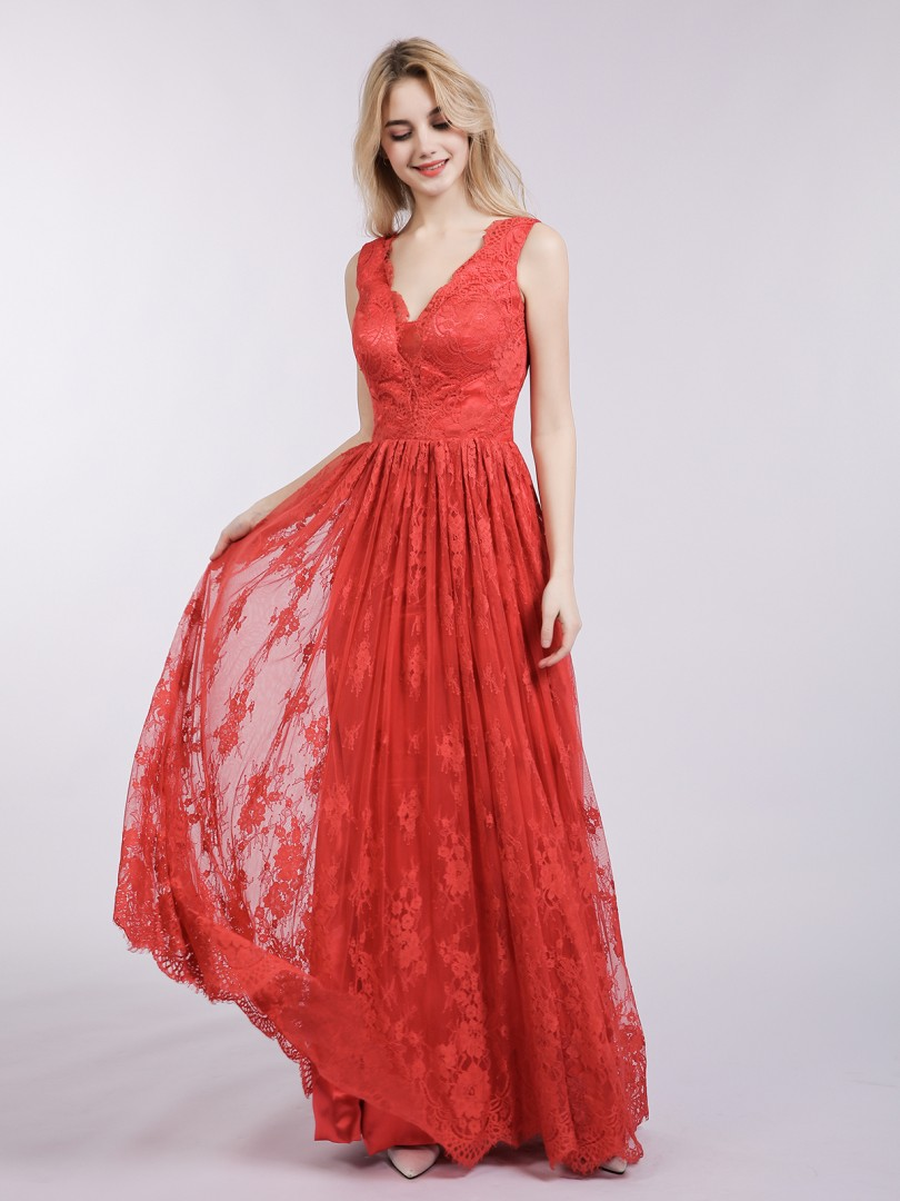 A-line Lace Red Backless  Floor-length V-neck Sleeveless Default Category
