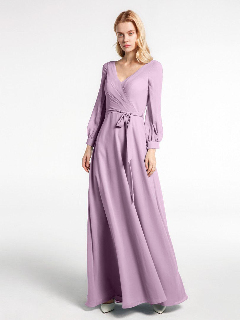 A-line Chiffon Dusk Zipper Bow Floor-length V-neck Long Sleeve New Arrivals