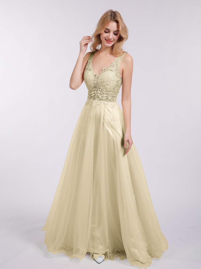 A-line Tulle Champagne Backless  Floor-length V-neck Sleeveless Prom Dresses