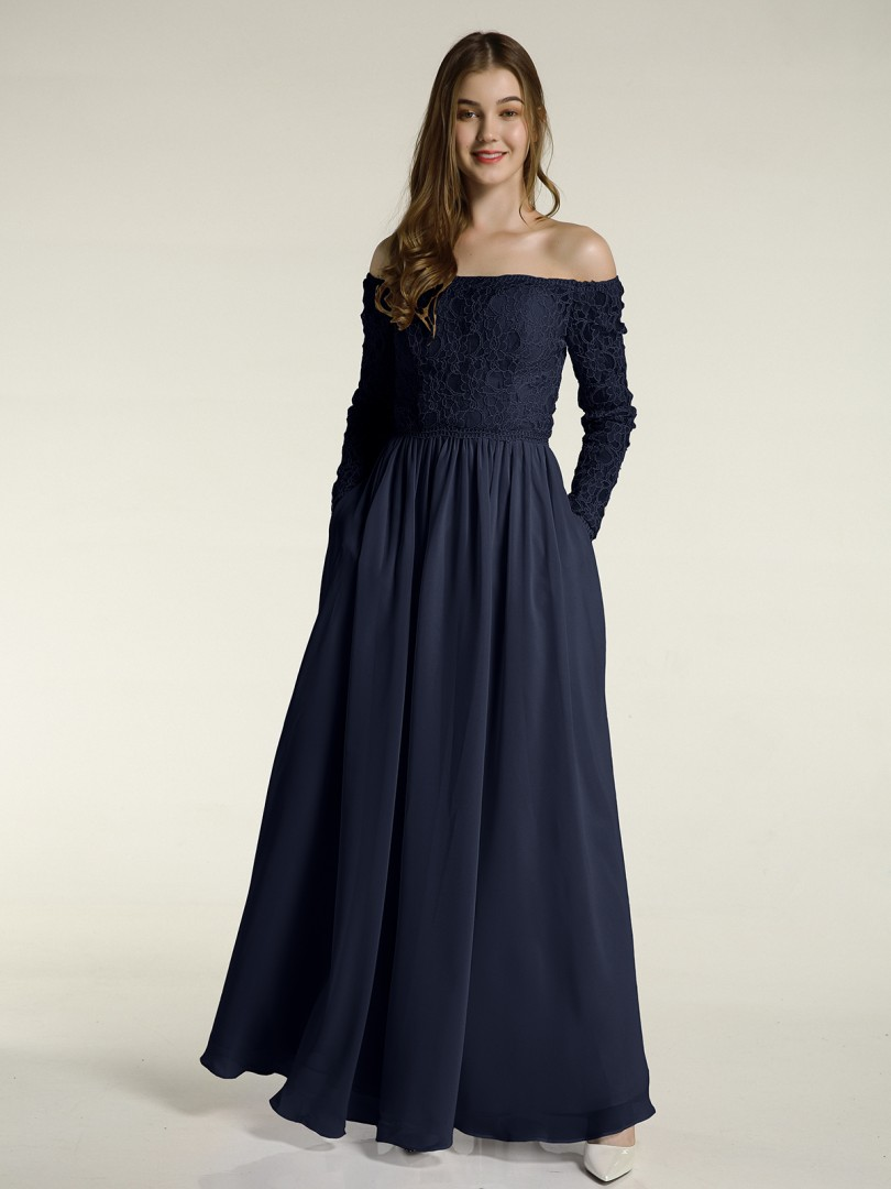 A-line Chiffon Dusty Blue Zipper Lace Floor-length Off-the-shoulder Long Sleeve New Arrivals