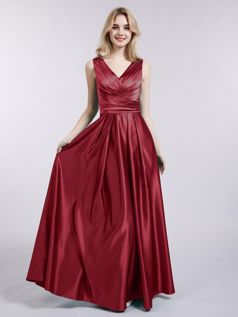 A-line Satin Dark Green Backless Ruffle Floor-length V-neck Sleeveless New Arrivals