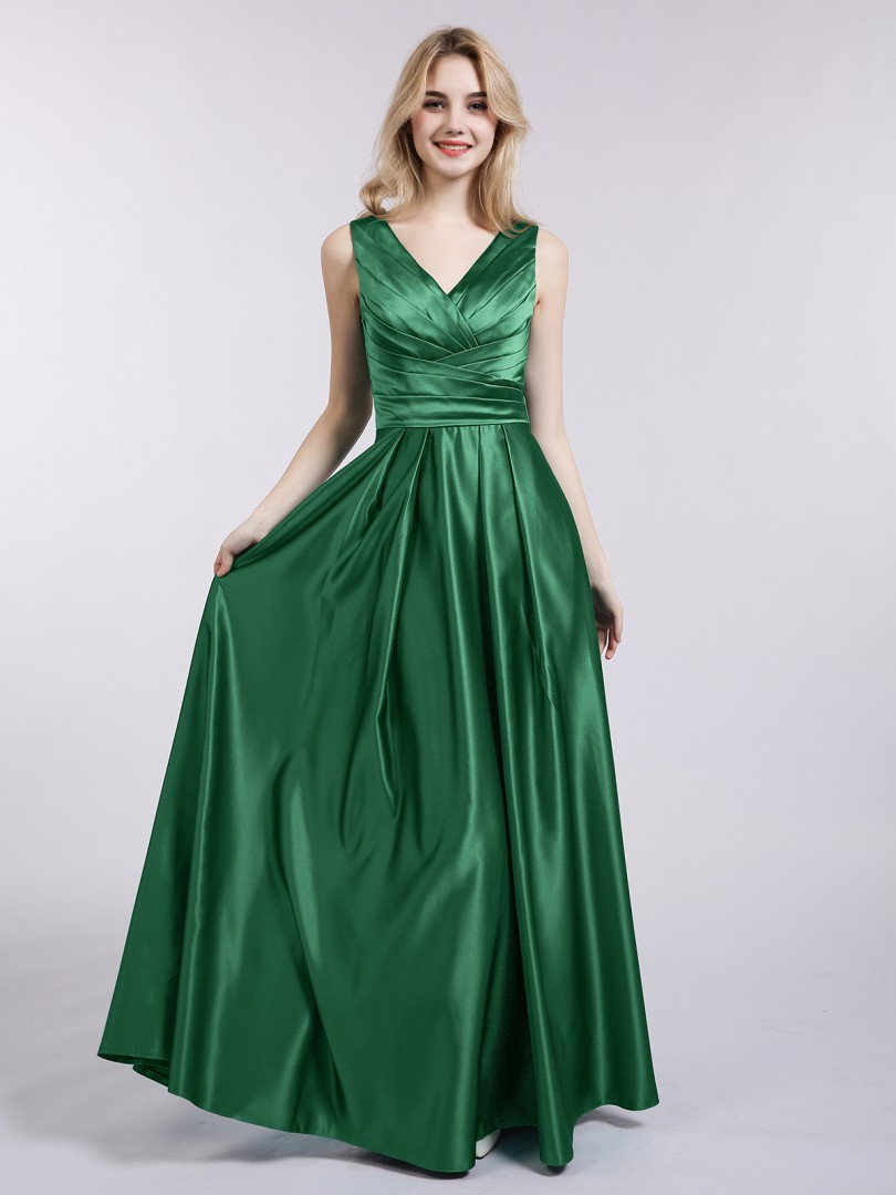 A-line Satin Dark Green Backless Ruffle Floor-length V-neck Sleeveless Prom Dresses
