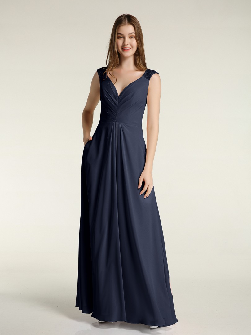 A-line Chiffon Grape Zipper Pocket, Pleated Floor-length V-neck Sleeveless Long Bridesmaid Dresses