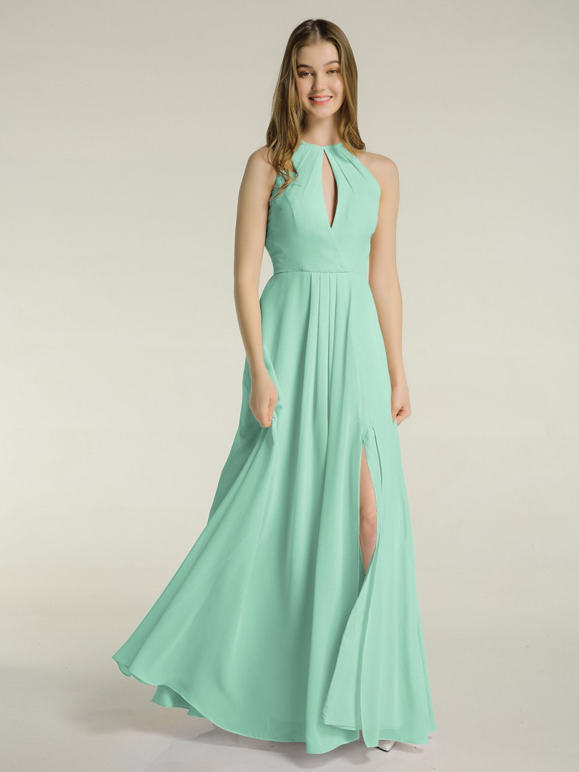 A-line Chiffon Mulberry Zipper Ruched, Pleated Floor-length Halter Sleeveless Long Bridesmaid Dresses