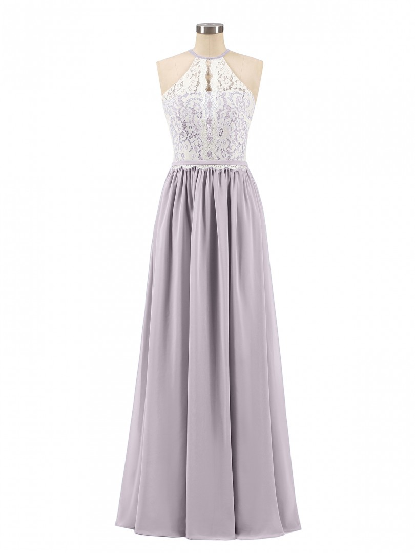 A-line Chiffon Dusk Zipper Lace, Ruched Floor-length Halter Sleeveless Prom Dresses