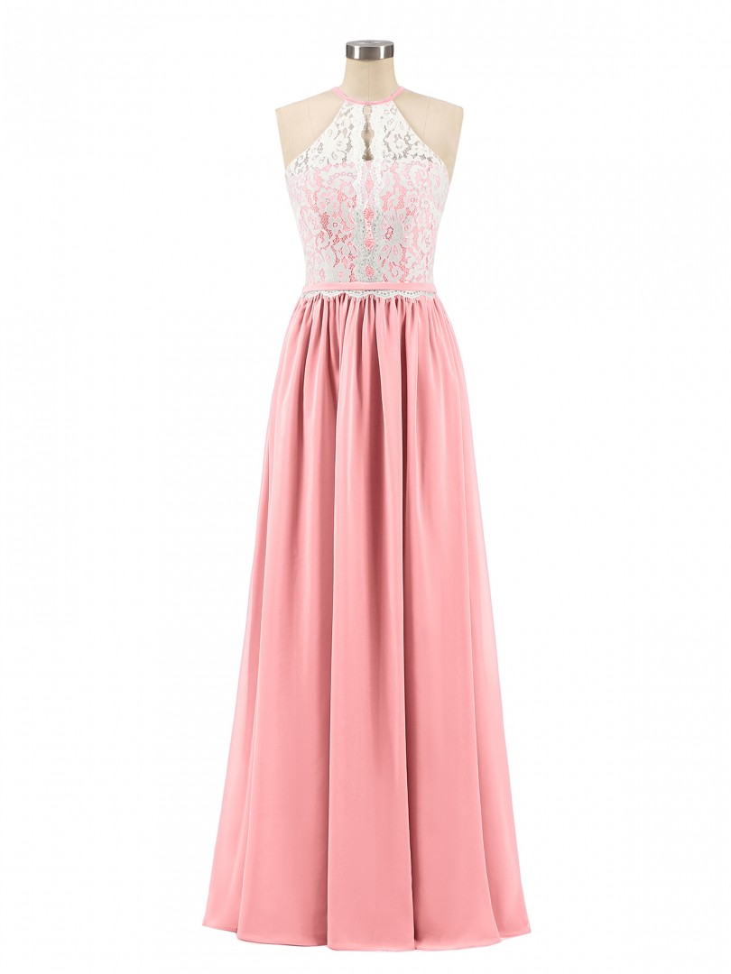 A-line Chiffon Dusk Zipper Lace, Ruched Floor-length Halter Sleeveless Lace Bridesmaid Dresses