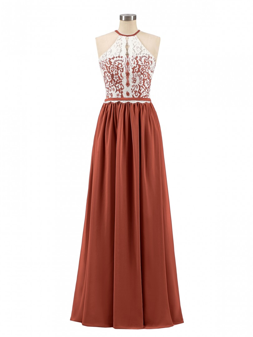 A-line Chiffon Dusk Zipper Lace, Ruched Floor-length Halter Sleeveless Best Sellers