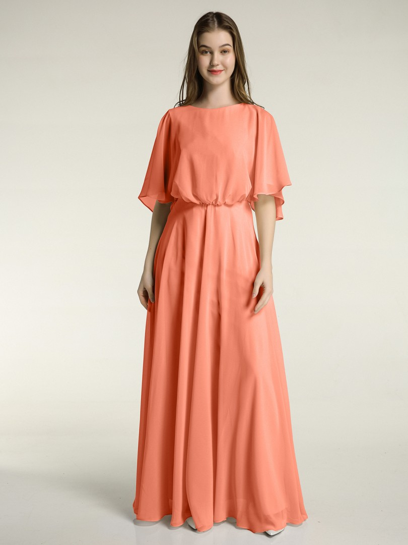 A-line Chiffon Cabernet Zipper Bow, Ruched Floor-length Scoop Half Sleeve New Arrivals