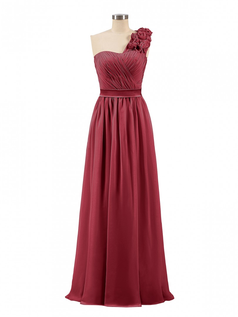 A-line Chiffon Pearl Pink Zipper Ruched, Flower, Pleated Floor-length One Shoulder Sleeveless Long Bridesmaid Dresses