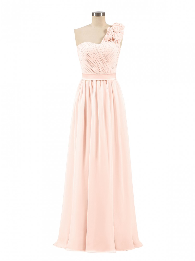 A-line Chiffon Pearl Pink Zipper Ruched, Flower, Pleated Floor-length One Shoulder Sleeveless Prom Dresses