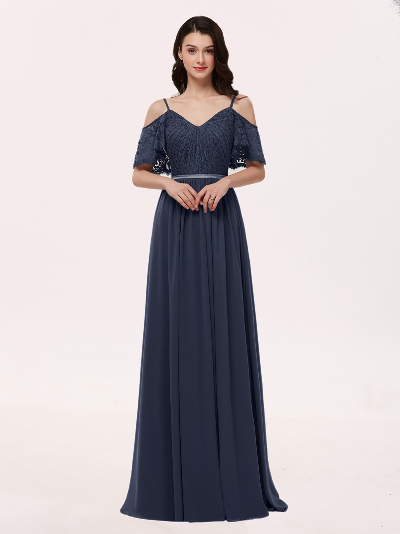 A-line Chiffon Grape Zipper Lace, Ruched Floor-length V-neck Spaghetti Straps Long Bridesmaid Dresses