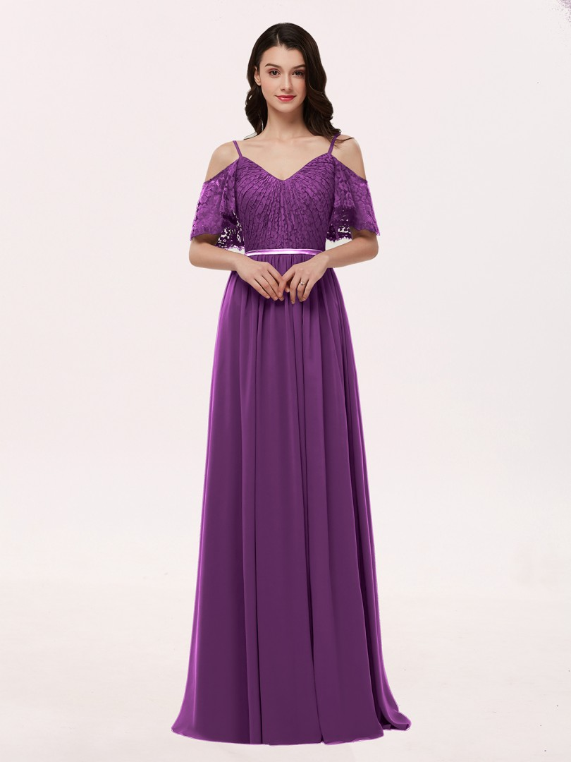 A-line Chiffon Grape Zipper Lace, Ruched Floor-length V-neck Spaghetti Straps Lace Bridesmaid Dresses